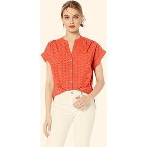 J Crew Orange Short Sleeve Eyelet Button Up Shirt
